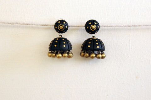 jewelry - terracotta - stud jhumka black  & gold