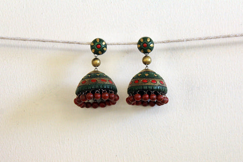 jewelry - terracotta - big stud jhumka green & red beads