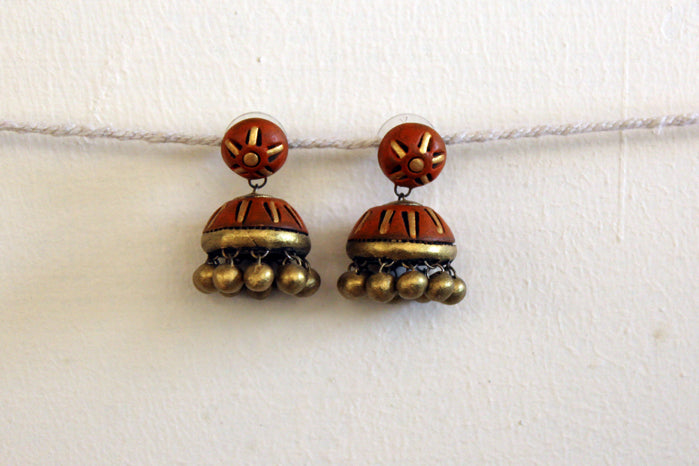 jewelry - terracotta - stud jhumka orange & gold
