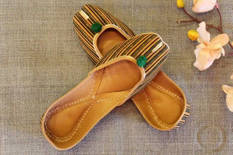 handcrafted juttis: yellow lines & ajrakh
