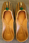 handcrafted juttis: yellow green lines & ajrakh