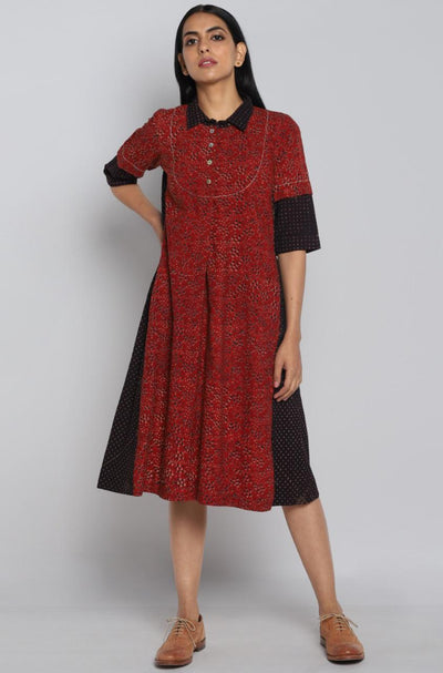 VINTAGE COLLAR DRESS - POLKA DOTS & ROSES