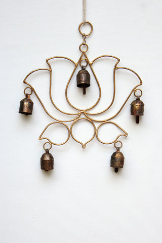 home decor - copper bell - lotus & windchime