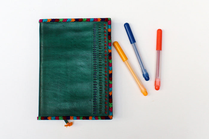 punched leather diary - green & multi-color