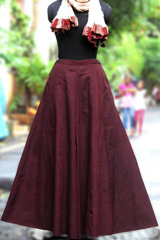 mangalgiri sharara - deep maroon & stripes