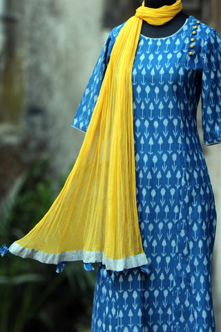 long kurta - indigo ikat & yellow pods