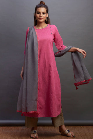side potli long kurta - blush & silver oak