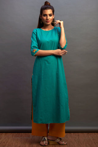 side potli long kurta - teal & tangerine