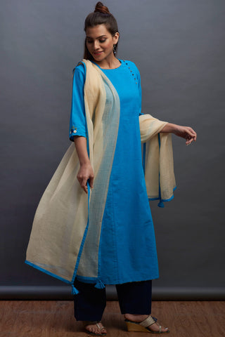 side potli long kurta - aqua & buff