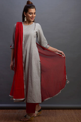 side potli long kurta - mono & trace
