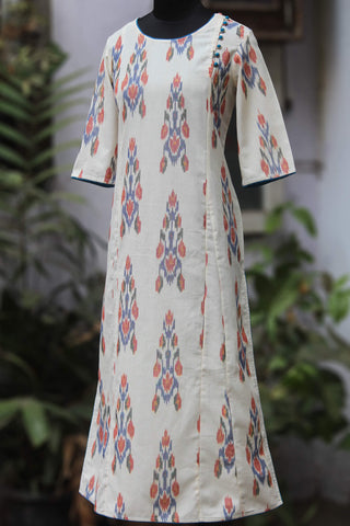 side potli long kurta - aztec & ivory