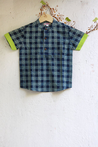 kidswear - indigo checks boys shirt