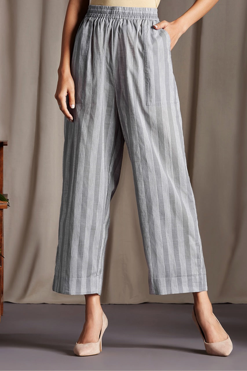 comfort fit cotton pants - ash grey & stripes