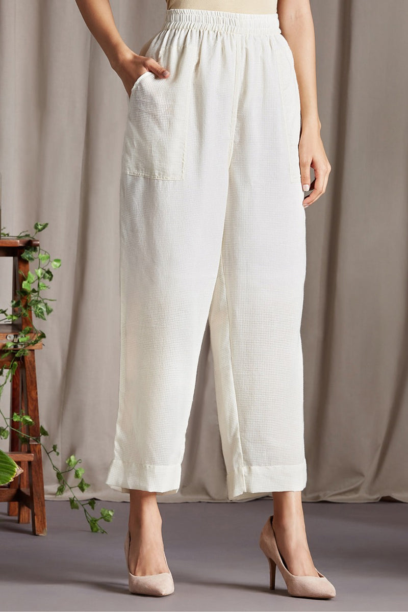comfort fit cotton pants - ivory & kota