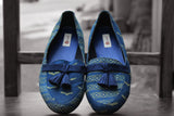 handcrafted footwear - indigo yellow & bird loafers