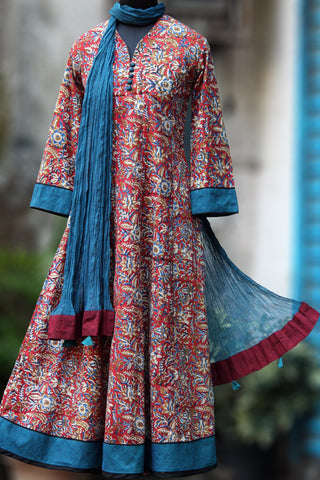 anarkali - red & teal jaal