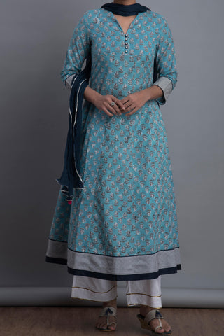maxi anarkali - powder blue & jasmine bloom