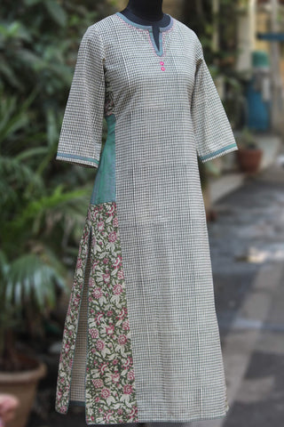 side panel kurta - checkers by the bay