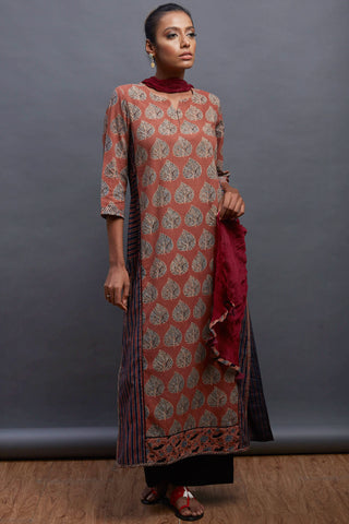 panelled long kurta - copper & aspen