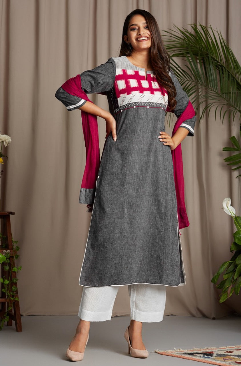 patchwork long kurta - brushed grey & vivid red