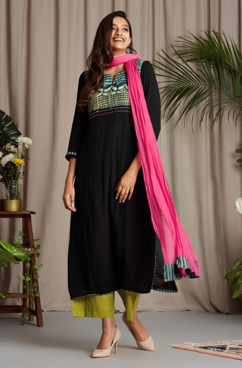 patchwork long kurta - black brilliance & early moss