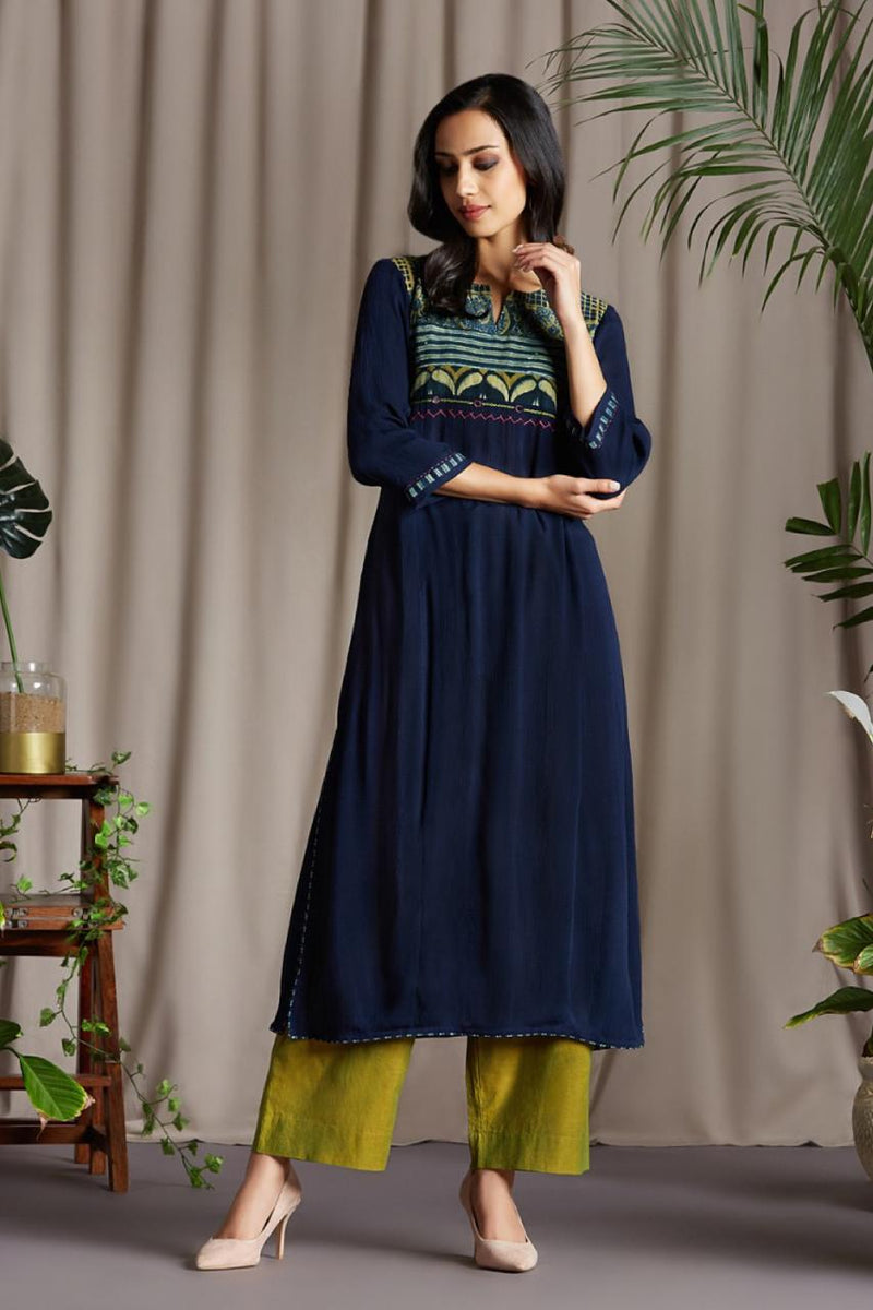 Long Kurta Indigo Blue Crush fabric with Ajrakh Patchwork Yoke in Indigo Henna with Pink green Mirror work and Green Chiffon Dupatta