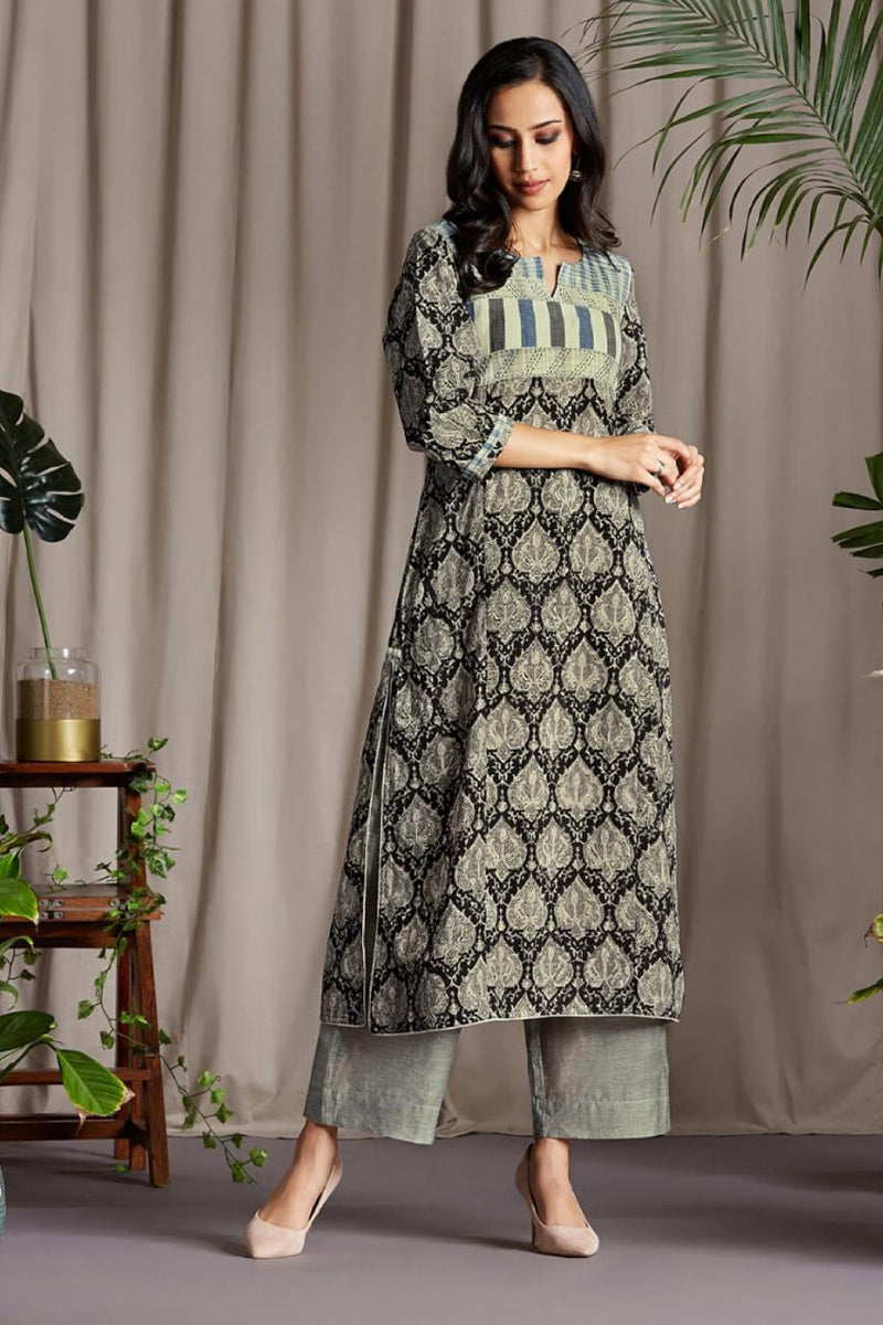 Long Kurta In Kashish Grey Pine Leaves and Horizontal patch Kala Cotton Yoke with Grey Indigo Stripes and indigo Black Hand embroidery with Mul Indigo Dupatta