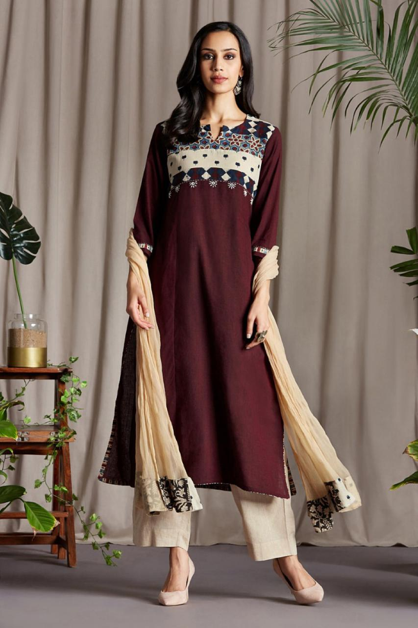 patchwork long kurta - mahogany bloom & sumptuous tone