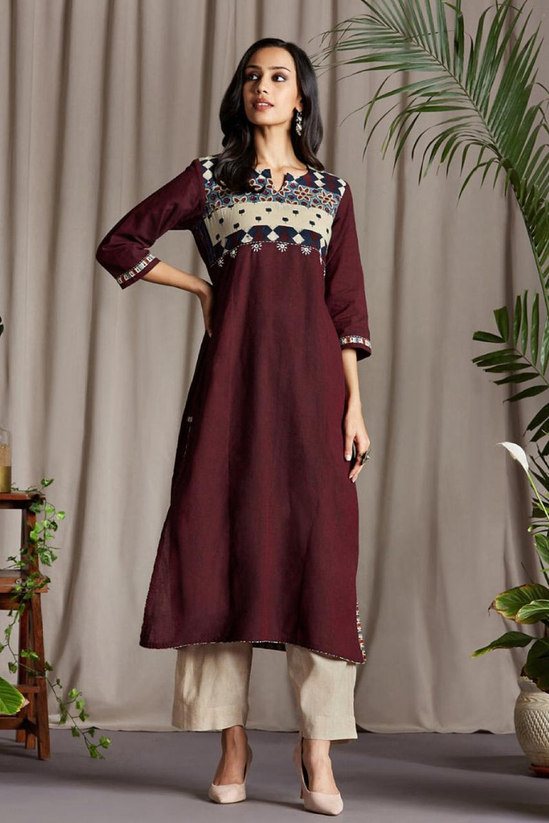 Long Kurta In Maroon brown mangalgiri and Horizontal patchwork yoke in Ajrakh Indigo red White and Cream floral Mirror work Hand embroidery with Cream Chiffon Dupatta