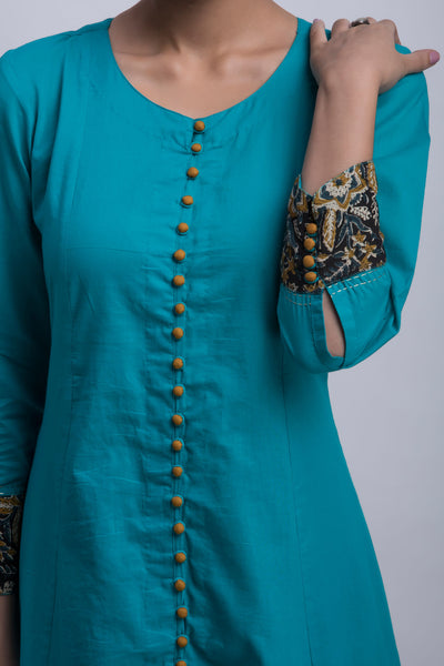 pop potli anarkali - teal & amber