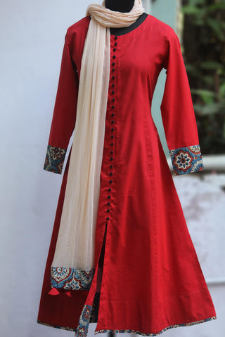 pop potli anarkali - rosy red & raisin