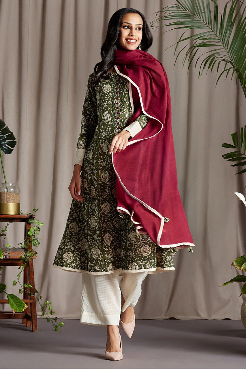 pop potli anarkali - canopy green & breath of spring