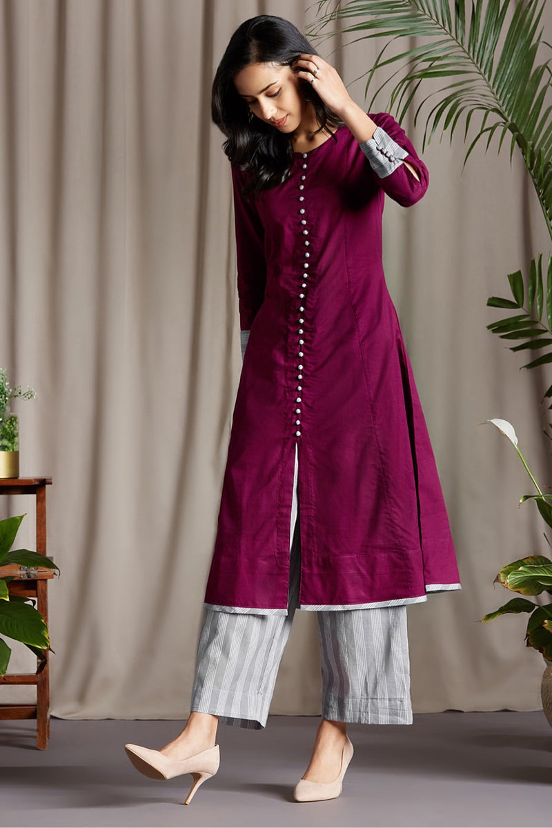 pop potli anarkali -  imperial purple & earl grey