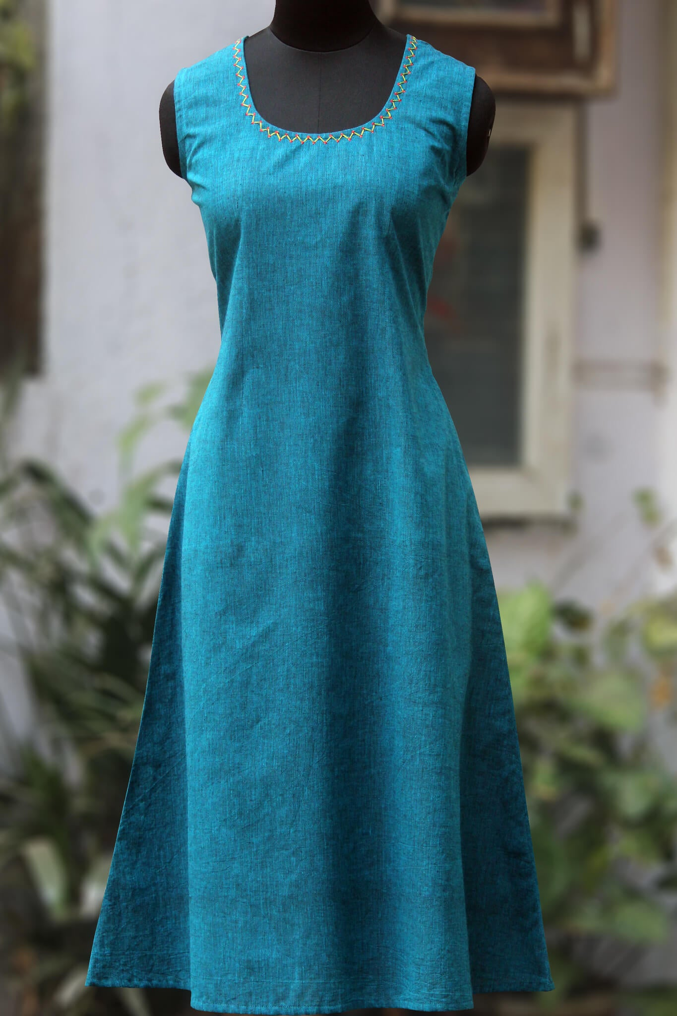 sleeveless mangalgiri dress - turquoise & teal