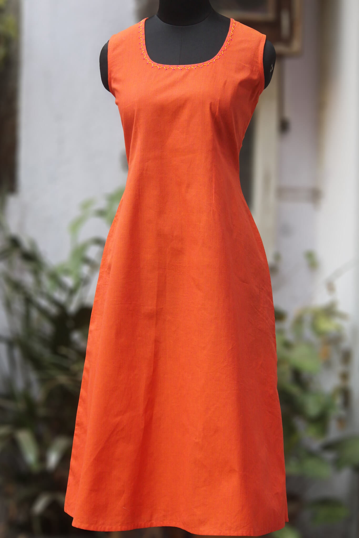 sleeveless mangalgiri dress - sunset & serene