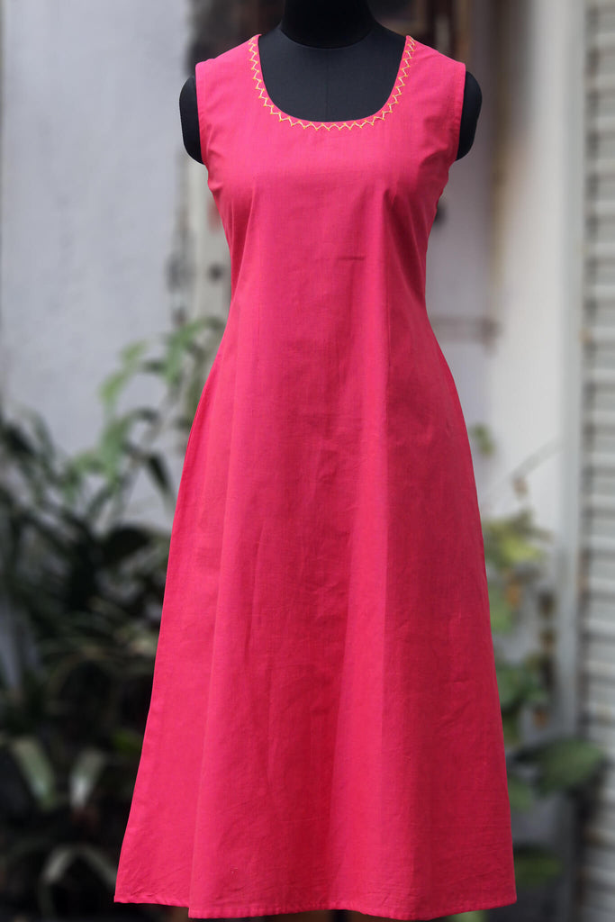 sleeveless mangalgiri dress - pink & plumeria