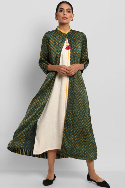 AJRAKH MODAL JACKET - GREEN & YELLOW BUTTIS