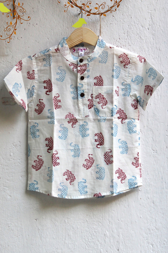 kidswear - white elephants with chinese collar