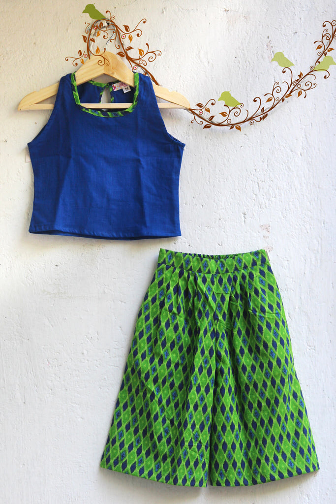 kidswear - blue green culotte with top