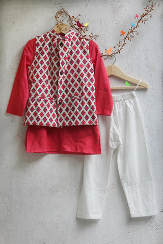 kidswear - PEACH KURTA WITH IKAT PRINT JACKET AND PAJAMA
