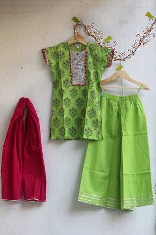 kidswear - green gota kurti with green palazzo & dupatta