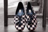 handcrafted footwear - black & white checks derby
