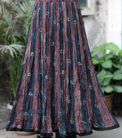 ajrakh skirt - brown oak & indigo aso palav