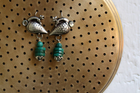 silver jewelry - turning peacock with turquoise