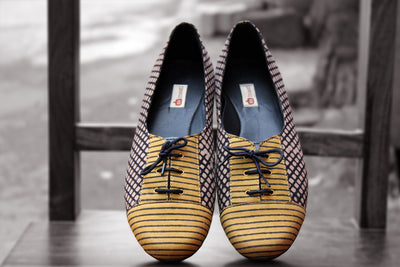 handcrafted footwear - black & yellow stripes derby