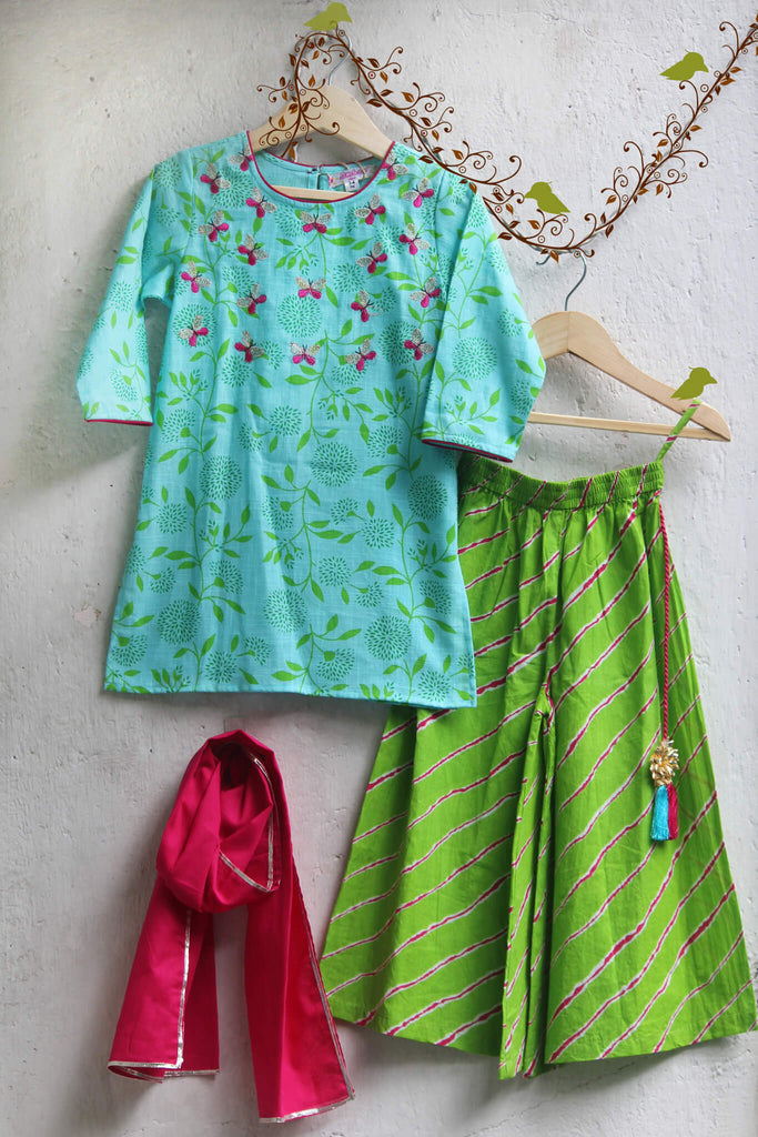 kidswear - Blue Kurti with Butterfly and Green Palazzo and Dupatta