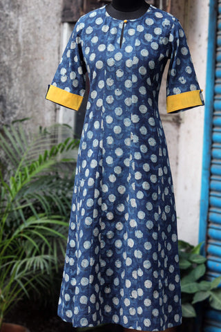 dress - indigo bubbles & yellow speck