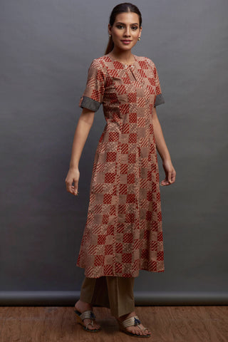 a-line kurta - checker & cherry
