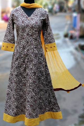 anarkali - grey tendrils & canary yellow