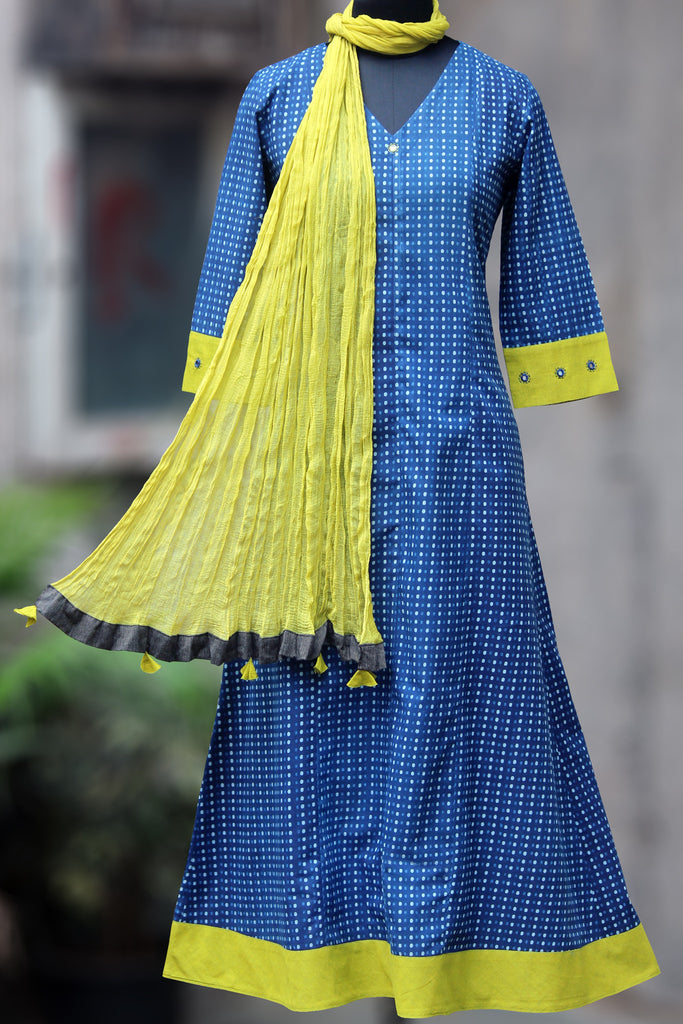 anarkali - indigo drizzle & lime green